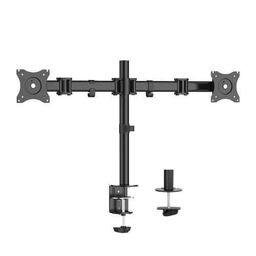 Braccio supporto da tavolo con morsa per 2 monitor 13-27 fino a 8 kg a 3 snodi
